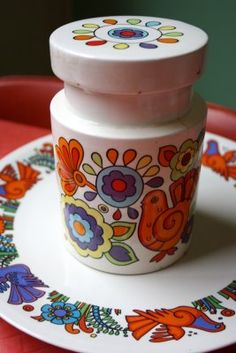 'Acapulco' plate and 'Gaytime' canister: from my kitchen