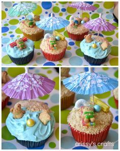 We love these sandy beach inspired cupcakes by Crissy's Crafts so much we just had to share!