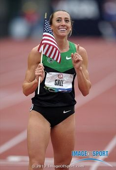 Geena Gall takes a victory lap after finishing second in the womens 800m in 1:59.24 in the 2012 U.S. Olympic Team Trials at Hayward Field.