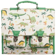 Powell Craft Green Satchel Backpack with Dinosaur Print (30cm) at Childrensalon.com
