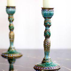 pena do pavão do efeito do vintage decorativo candlestick feitos com projetos do amor ltd | notonthehighstreet.com