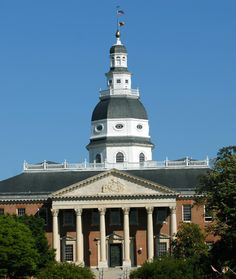 Annapolis, MD - Maryland State House, where the Maryland General Assembly meets - every year since 1797! In 1783 in the Old Senate Chamber, General George Washington resigned as commander-in-chief of the Continental Army.