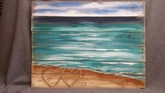 Wood Pallet Art BEACH Hand painted Seascape by TheWhiteBirchStudio----something like this with the dock at the river would be so perfect for us! Wood Pallet Art, Pallet Painting, Pallet Crafts, Diy Pallet Projects, Wood Pallets, Painting On Wood, Wood Art, Pallet Ideas, Pallet Furniture