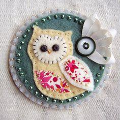 Owl felt fabric scrap,pin