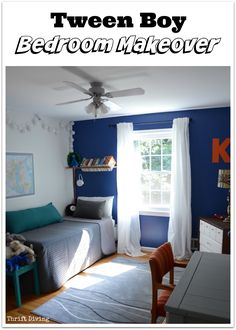 With just a few simply changes, this tween boy bedroom makeover in with a blue accent wall with orange and gray is perfect for a tween to grow up in! See the complete BEFORE & AFTER with more pics!