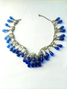 Sapphire drop and paste necklace, att. Roger Scemama for Christian Dior, 1960s | From a unique collection of vintage drop necklaces at https://www.1stdibs.com/jewelry/necklaces/drop-necklaces/