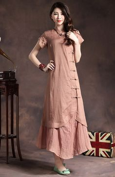 Maxi Linen Dress in Pink / Layered Bridesmaid by camelliatune