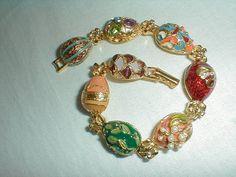 vintage joan rivers egg bracelet faberge by qualityvintagejewels, $68.00