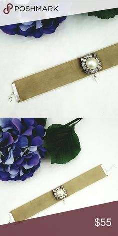 """🆕 Vintage Boho Velvet Pearl Choker, OOAK One of a kind handcrafted choker perfect for casual and dressy affairs!  ⚬Brand new Khaki velvet ribbon ⚬Vintage pearl brooch ⚬Pearl drop accent ⚬Silver plated adjustable ends & lobster claw ⚬Choker length 10 to 15"""", width 1"""" ⚬Handcrafted with love by me croweArt Jewelry Necklaces"""