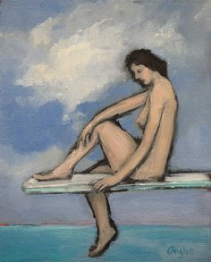 Nude on Diving Board  Original Oil Painting  Female by AngelaOoghe, $60.00