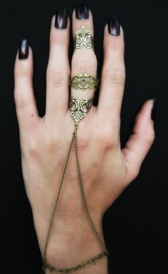 Armor Ring and Slave Bracelet $20.00 #etsy #leafonthewinddesigns #handmade #jewelry #slavebracelet #armorring #fierce