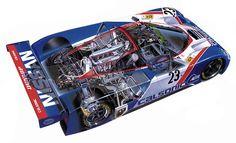 Nissan R89C race car - cutaway