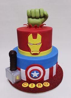 Avenger Bithday Cake  Violeta Glace 2 Tier Birthday Cakes, Avengers Birthday Cakes, Bithday Cake, Superhero Birthday Cake, First Birthday Cakes, Baby Boy Birthday, Avenger Cupcakes, Avenger Cake, Ironman Cake