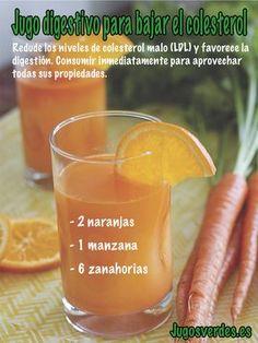 Reduce los niveles de colesterol malo (LDL) y favorece la digestión con este sencillo jugo verde para principiantes. #jugo #colesterol #digestivo