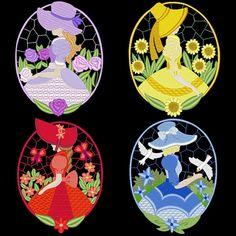 SUNBONNET FLOWER OVALS  30 Machine Embroidery Designs Instant Download 4x4 5x7 6x10 hoop (AzEB)
