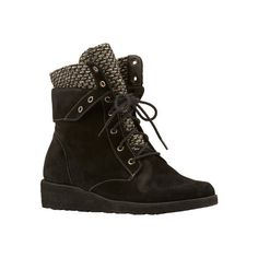 Women's Walking Cradles Finch Wedge Bootie - Black Roughout... (195 AUD) ❤ liked on Polyvore featuring shoes, boots, ankle booties, black wedge ankle booties, wedge bootie, black ankle boots, black leather booties and black wedge booties