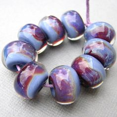 Boro Lampwork Spacer Beads Iris Blue and Purple. $24.00, via Etsy.