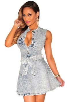 $21.10 Denim Belted Skater Dress http://en.modebuy.com @modebuyshop #modebuyshop @modebuy #modebuy  #art #me #dress