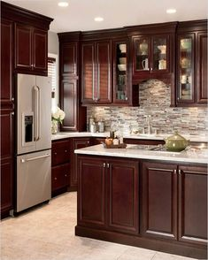 85 Luxury Kitchen Cabinets Design and Decor Ideas - Page 74 of 88 Cherry Wood Kitchen Cabinets, Cherry Wood Kitchens, Kitchen Cabinet Design, Wooden Kitchen, Oak Cabinets, Gloss Kitchen, Kitchen Backsplash, Cherry Kitchen Cabinets, Hickory Kitchen