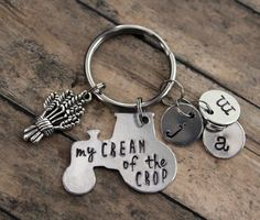 Tractor Key Chain Personalized Hand by designchickcreations