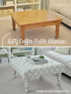 Living Room DIY – Turn a Coffee Table into an Upholstered Ottoman table in back shed.bottom of bed seat, imagine! Repurposed Furniture, Shabby Chic Furniture, Vintage Furniture, Painted Furniture, Handmade Furniture, Modern Furniture, Furniture Design, Country Furniture, Distressed Furniture
