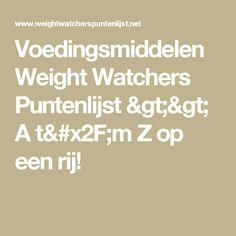 Voedingsmiddelen Weight Watchers Puntenlijst >> A t/m Z op een rij!
