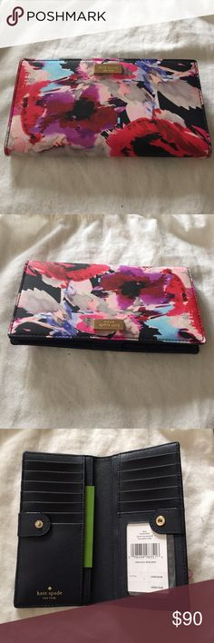 "KATE SPADE WALLET Kate Spade Stacy Wallet Style: Burry Flowers  Size 3.5"" x 6.5"" x 1"" Condition New with tag Description:  4 long slip pocket where the dollars can lay flat. 12 credit card slip pockets and one clear window ID pocket. one zipper pocket in the back! kate spade Bags Wallets"