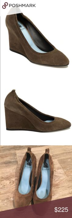 Lanvin wedge pump Beige brown suede ballet wedge.  New never worn!  Beautiful!  Please ask if you have any questions. Size 39 in France, 38 in Europe and a 7.5 in US. Lanvin Shoes Wedges