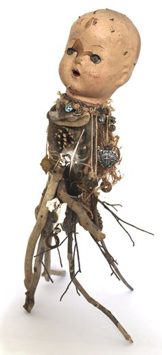 assemblage art by mike bennion - 'the guide' Found Object Art, Creepy Dolls, Doll Parts, Assemblage Art, Doll Head, Recycled Art, Medium Art, Art Dolls, Dolls Dolls