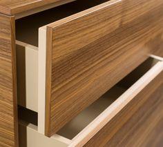 Highboard von Mobilamo in Echtholzfurnier Nuss - 5 Laden Wood Veneer, Real Wood, Storage Shelves, Furniture Design, Good Things, Design Ideas, Timber Wood, Storage Racks, Plywood