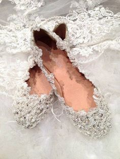 Beautiful lace and beaded slippers