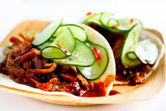 Korean style pulled pork tacos ( I used lettuce wraps) with pickled cucumber slaw