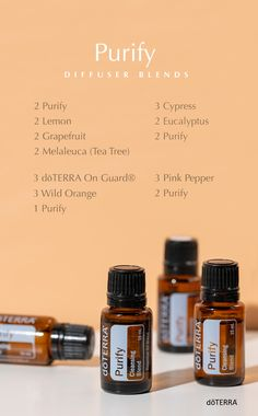 This amazing blend of essential oils eliminates odors and protects against environmental threats without subjecting your family to unnatural toxic chemicals. Try these new diffuser blends with Purify essential oil! Healing Oils, Aromatherapy Oils, Aromatherapy Recipes, Essential Oil Diffuser Blends, Doterra Essential Oils, Doterra Blends, Natural Essential Oils, Diy Savon, Tips