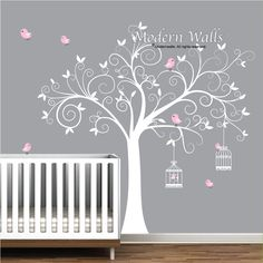 Tree Wall Decal Birdcages With Birds Baby Room E09