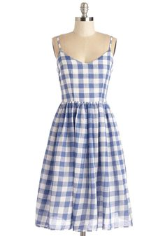 Check Date Dress - Blue, White, Checkered / Gingham, Print, Casual, Sundress, A-line, Spaghetti Straps, Spring, Woven, Long, Cotton, V Neck
