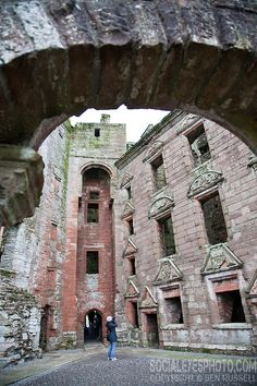 Caerlaverock Castle interior - Caerlaverock Castle is a moated triangular castle first built in the 13th century. It is located on the southern coast of Scotland, 11 kilometres south of Dumfries, on the edge of the Caerlaverock National Nature Reserve.