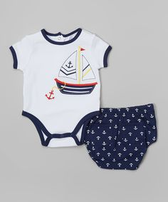 This Baby Essentials White & Navy Sailboat Bodysuit & Anchor Diaper Cover by Baby Essentials is perfect! #zulilyfinds