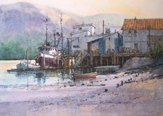 West Harbor, Astoria, Oregon x 17 image watercolor Autumn, Midway, Utah x image watercolor Available through Se. Watercolor Artists, Watercolor Paintings, Watercolors, Ian Ramsey, Boat Art, Safe Harbor, Gouache Painting, Conceptual Art, Wyoming