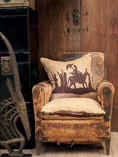 worn leather chair, rustic