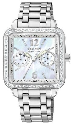 Citizen Women's FD1040-52D Eco-Drive Stainless Steel Silhouette Crystal Watch Citizen. Save 25 Off!. $243.75. Water-resistant to 30 M (99 feet). Eco-drive, fueled by light. Stainless steel square case and bracelet. Swarovski crystal bezel. Mineral glass crystal