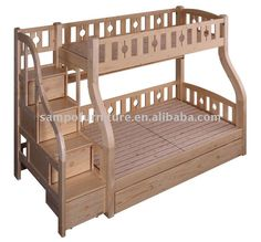 children's twin over full wood bunk bed with Trundle Unit or Storage Drawer