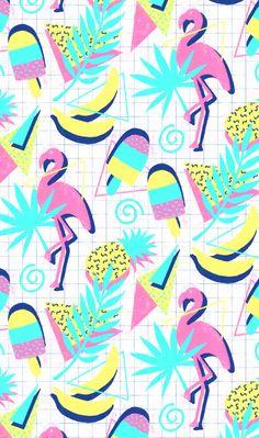 Flashback Tropical Fun by Micklyn - Memphis inspired pattern on Spoonflower : ) Tropical Design, Tropical Pattern, Tropical Art, Chevron Wallpaper, Retro Wallpaper, Pattern Wallpaper, Retro Color Palette, Miami Art Deco, Graffiti Drawing