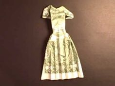 Created on September 2011 using FlipShare. a dress made with a one dollar bill with tape or glue just folded Origami Gifts, Money Origami, Paper Crafts Origami, Races Fashion, Fashion Art, Barbie Furniture, Furniture Vintage, Folding Money, Money Flowers