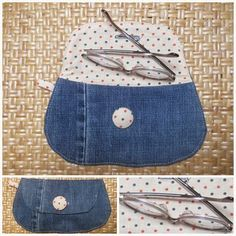Brillenetui aus Jeans / Spectacle case made from old pair of jeans / Upcycling by kristine Diy Jeans, Denim Handbags, Diy Bags Purses, Denim Ideas, Denim Crafts, Recycled Denim, Denim Bag, Fabric Bags, Cute Bags