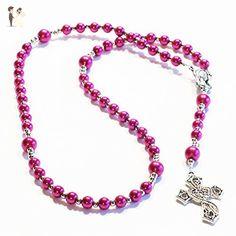 FUCHSIA Handcrafted Catholic Saints Rosary Necklace Beaded Chain - Wedding nacklaces (*Amazon Partner-Link)