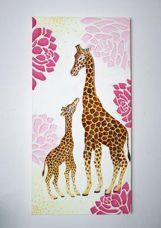 "15"" x 30"" Original hand painted acrylic Giraffe Mother/Baby Love for a nursery By Megan Zsenyuk"