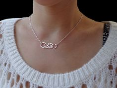 Infinity - Sterling Silver Double Infinity Necklace - Eternity Necklace, Simplicity, Forever Necklace, Love, Bridal Party, Sisters. $55.00, via Etsy.