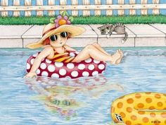 Classic Mary Engelbreit ♥ I like the sunglasses on the kitty too! Mary Engelbreit, Arte Pop, Whimsical Art, Summer Fun, Summer Time, Animated Gif, Illustrators, Illustration Art, Retro Illustrations
