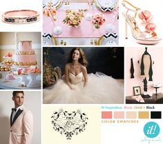 pink gold and black wedding - Google Search