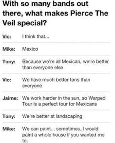 66 Trendy Ideas Funny Memes Mexican Pierce The Veil Band Quotes, Band Memes, Emo Bands, Music Bands, Bryan Stars, Jaime Preciado, Hardcore, Indie, Love Band